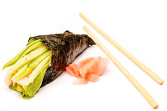 Fresh traditional japanese food on white Stock Images
