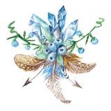 Fresh Tribal Vignette Wild Forest Wreath Design Element royalty free stock photo