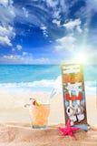 Fresh tropical cocktail on beautiful beach Stock Photos