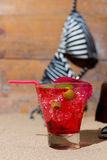 Fresh tropical cocktail on sunny beach Royalty Free Stock Image