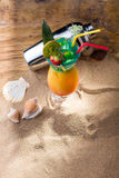 Fresh tropical cocktail on sunny beach Royalty Free Stock Images