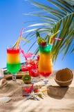 Fresh tropical cocktail on sunny beach Royalty Free Stock Photos