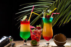 Fresh tropical cocktail on sunny beach Royalty Free Stock Photography