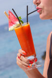 Fresh tropical fruit cocktail with water melon sli Stock Images