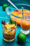 Fresh tropical fruit juices Royalty Free Stock Photo