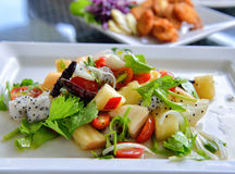Fresh tropical fruit salad in white plate Stock Image