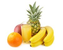 Fresh tropical fruits and juice Stock Image
