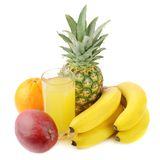 Fresh tropical fruits and juice Royalty Free Stock Images