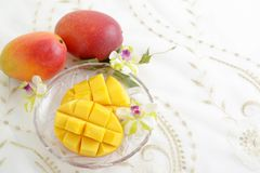 Fresh tropical fruits. Fresh fruits on the dining table stock images