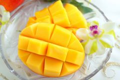 Fresh tropical fruits. Fresh fruits on the plate royalty free stock image
