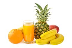Fresh tropical fruits and juice Royalty Free Stock Photography