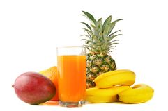 Fresh tropical fruits and juice Stock Photo