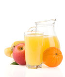 Fresh tropical fruits and juice in glass on white Royalty Free Stock Images