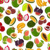 Fresh tropical fruits seamless pattern Stock Photos