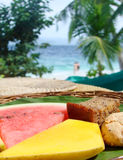 Fresh tropical fruits on a table, Royalty Free Stock Photography