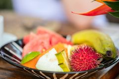 Fresh tropical fruits. Veriety of fresh tropical fruits Stock Photo