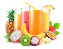Fresh tropical juices stock image