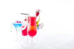 Fresh tropical layered cocktails Stock Photography