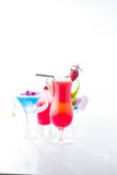 Fresh tropical layered cocktails Stock Images