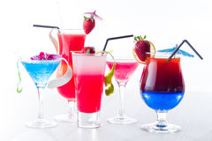 Fresh tropical layered cocktails Stock Photo