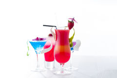 Fresh tropical layered cocktails over white Stock Image