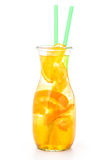 Fresh tropical or summer lemonade with orange and ice in glass, beverage isolated on white background Royalty Free Stock Photo