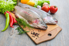 Fresh trout Stock Photos