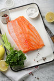 Fresh trout fillet with spice Royalty Free Stock Photos
