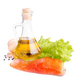 Fresh trout fish. Red trout fish with salad and olive oil Stock Image