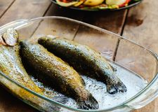 Fresh trout fish with spices ready for barbecue. Close up royalty free stock photo