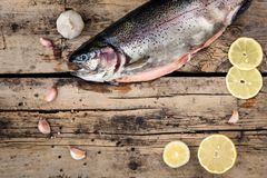 Fresh trout fish with spices on wood. En background Royalty Free Stock Photo
