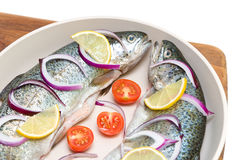 Fresh trout with lemon and vegetables Royalty Free Stock Images