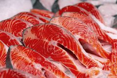Fresh trout sliced for grilling or barbecue royalty free stock images