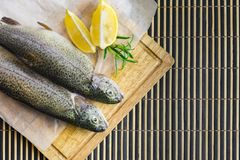 A fresh trout with slices of lemon and rosemary Royalty Free Stock Images