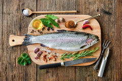 Fresh trout with spices and seasoning. On cutting board Royalty Free Stock Photos