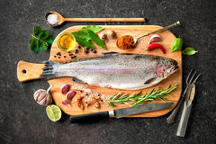Fresh trout with spices and seasoning Royalty Free Stock Photos
