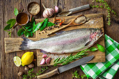 Fresh trout with spices and seasoning Royalty Free Stock Photo