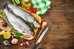 Fresh trout with spices and seasoning Stock Photography