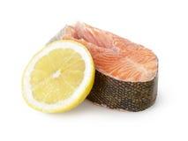 Fresh trout steak with lemon Stock Photo