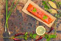Fresh trout steak with spices, herbs and lemon. Old background. Top view. Close-up stock photography