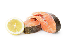Fresh trout steaks with lemon Royalty Free Stock Photography