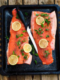Fresh trout on a wooden board . style rustic Stock Photos