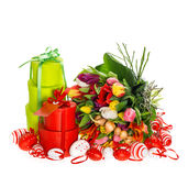 Fresh tulips with easter eggs and gift box Stock Image