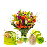 Fresh tulips with easter eggs and gift box Royalty Free Stock Image
