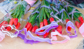 Fresh tulips ready for sale at the local street market Stock Images
