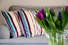 Fresh tulips in a vase at home in the livingroom royalty free stock photo