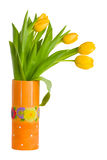 Fresh tulips in vase isolated royalty free stock photography