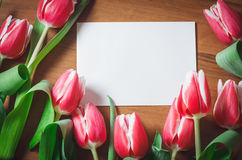 Fresh tulips on a wooden table. With empty tag Stock Photo