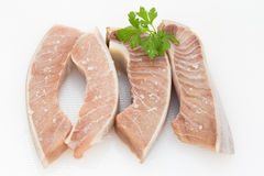 Fresh tuna belly on a table season with sea salt flakes Royalty Free Stock Photography