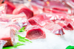 Fresh tuna fish on market display. Fresh tuna fish on cooled market display royalty free stock photos